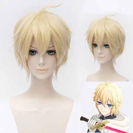 High Quality Seraph Of The End Mikaela Hyakuya Wigs 30cm Short Heat Resistant Synthetic Hair Perucas Cosplay Wig + Wig Cap