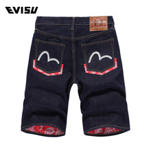 Evisu 2018 mens jeans shorts summer fashion casual mens Pockets shorts Jeans Straight printing men jeans Blue shorts Jeans 6178