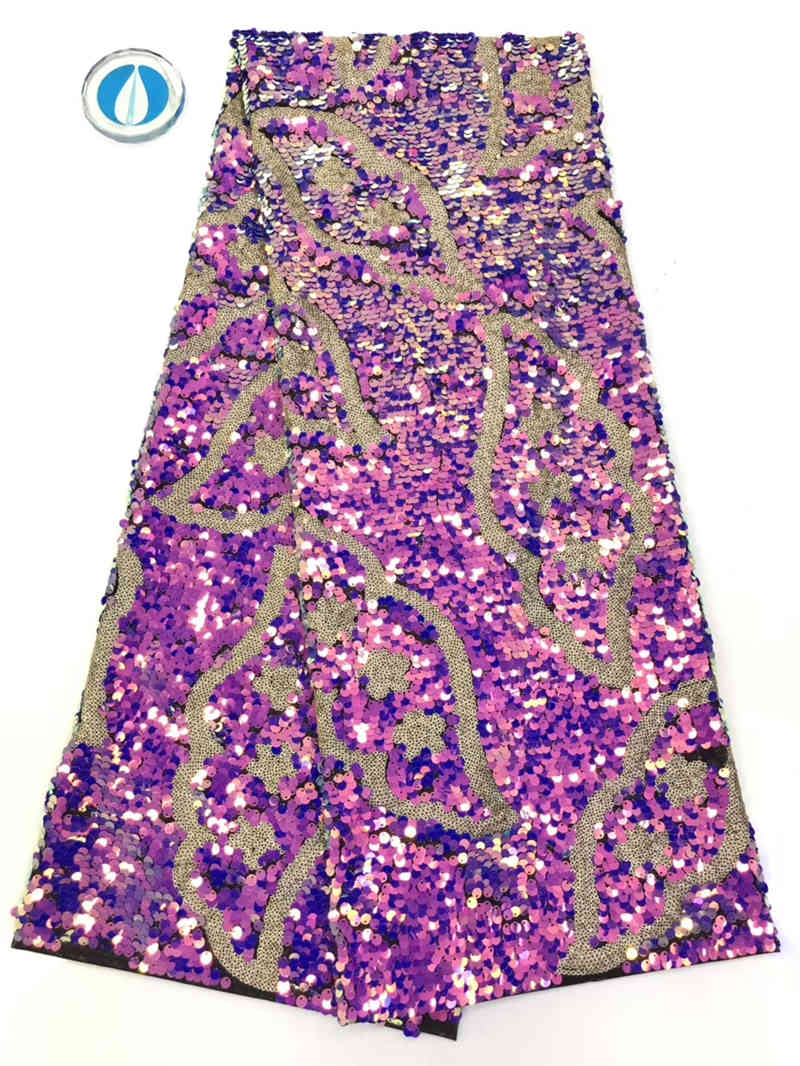 New style Sequin Lace Fabric French 3d Beads Embroidery 2019 African For Party Dress NX730s
