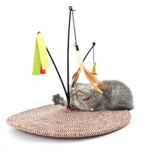 Sisal Cat Toy Round Scratching Post Cats Tree Tower Rolling Ball Mouse Scratch Board Training For
