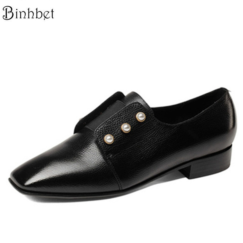 Binhbet Genuine Leather pointed toe Oxford Shoes Women Flats Shoes 2018 Fashion pearl Spring shoes Womens Flat Leather Shoes cresfimix women cute spring summer slip on flat shoes with pearl female casual street flats lady fashion pointed toe shoes