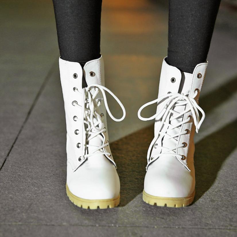 Casual Combate Las white Botas El En Mujeres khaki Encaje Invierno De 2018 Cuero Zapatos Tobillo Hasta Black Mujer Px0B5Cwq