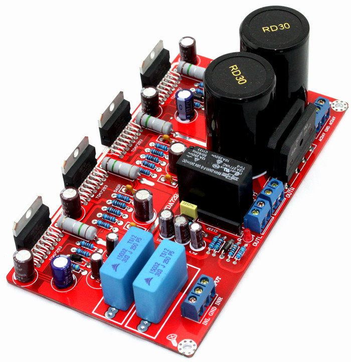 TDA7293 amplifier board dual AC24V-0-24V 2.0 parallel TDA7293 amplifier 2*170W NOVER 50V 10000UF with Speaker protection