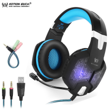 KOTION EACH G1000 Gaming Headphones For Computer Professional Wired 3.5mm LED Bass Stereo Headset With Mic For Laptop PC Ps4 Pro professional gaming headphones black stereo headset headband earphone with mic led light for pc laptop