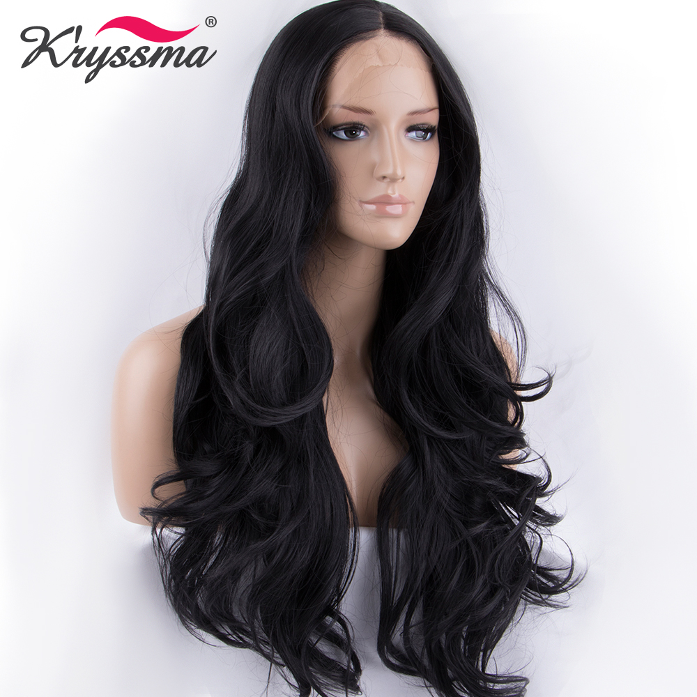 Natural Black Wig for Women 1B Long Wavy Wigs Long Hair Synthetic Lace Front Wig 22