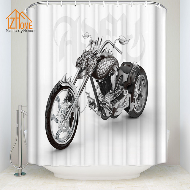 Memory Home New Arrival White Polyester Cool Motorcycle Waterproof Shower  Curtain Bathroom Products Fabric Bath Curtain