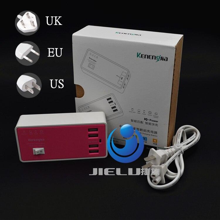 2016 Розовый ЕС/Великобритания/США Plug 4 Порты мобильный телефон адаптер 15 Вт 3A стены Dock USB Зарядное устройство для телефона Pad зарядное устройс...