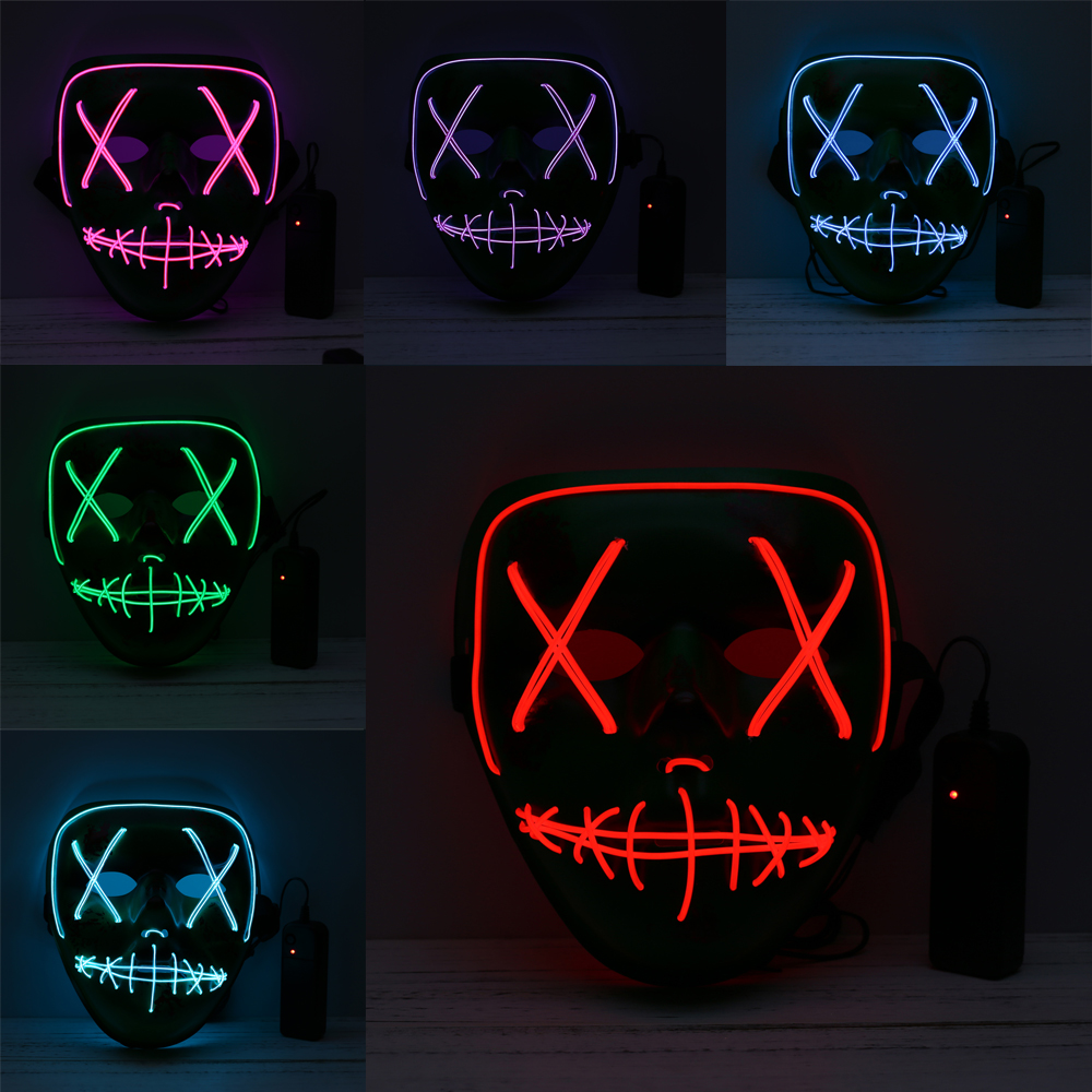 Halloween Mask LED Light Up Party Masks Glow In Dark The Purge Election Year Great Festival Cosplay Costume Supplies Funny Masks