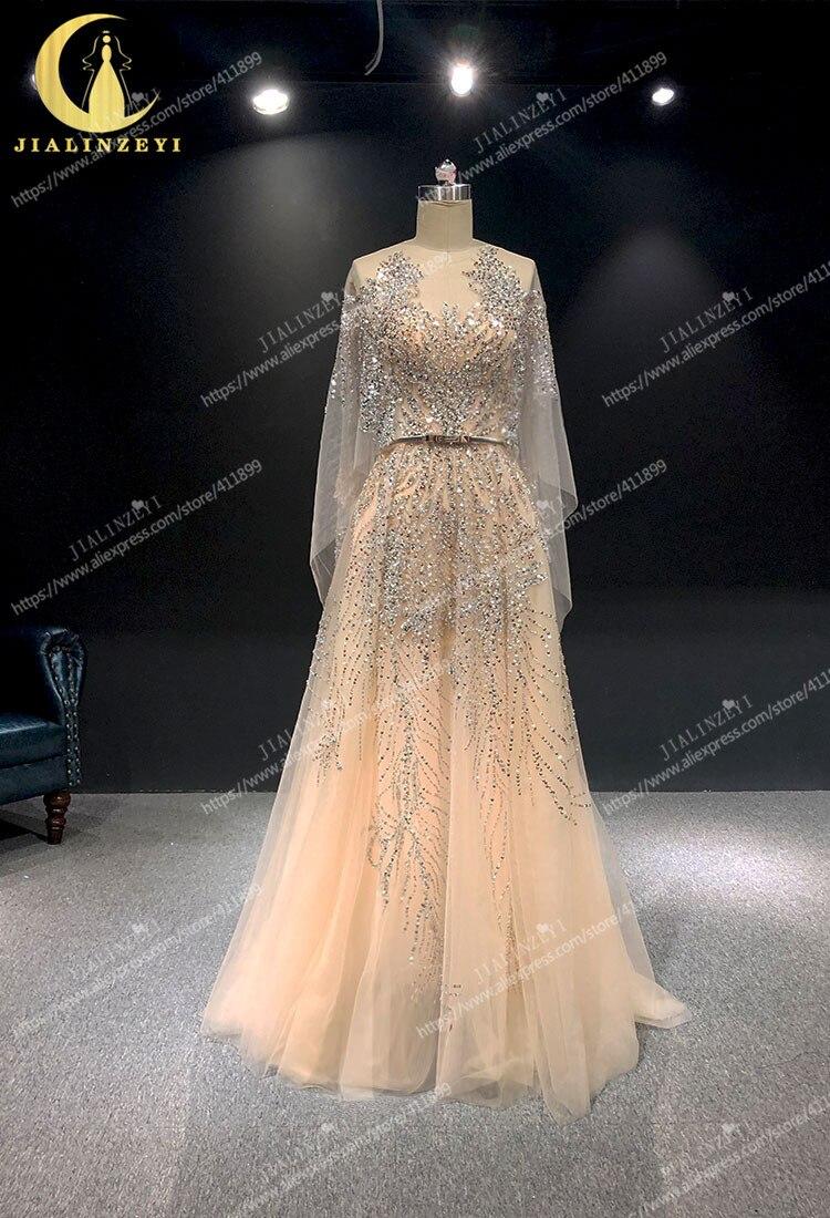 JIALINZEYI image réelle perles nues luxueux Elie saab robes formelles robes de soirée de fête