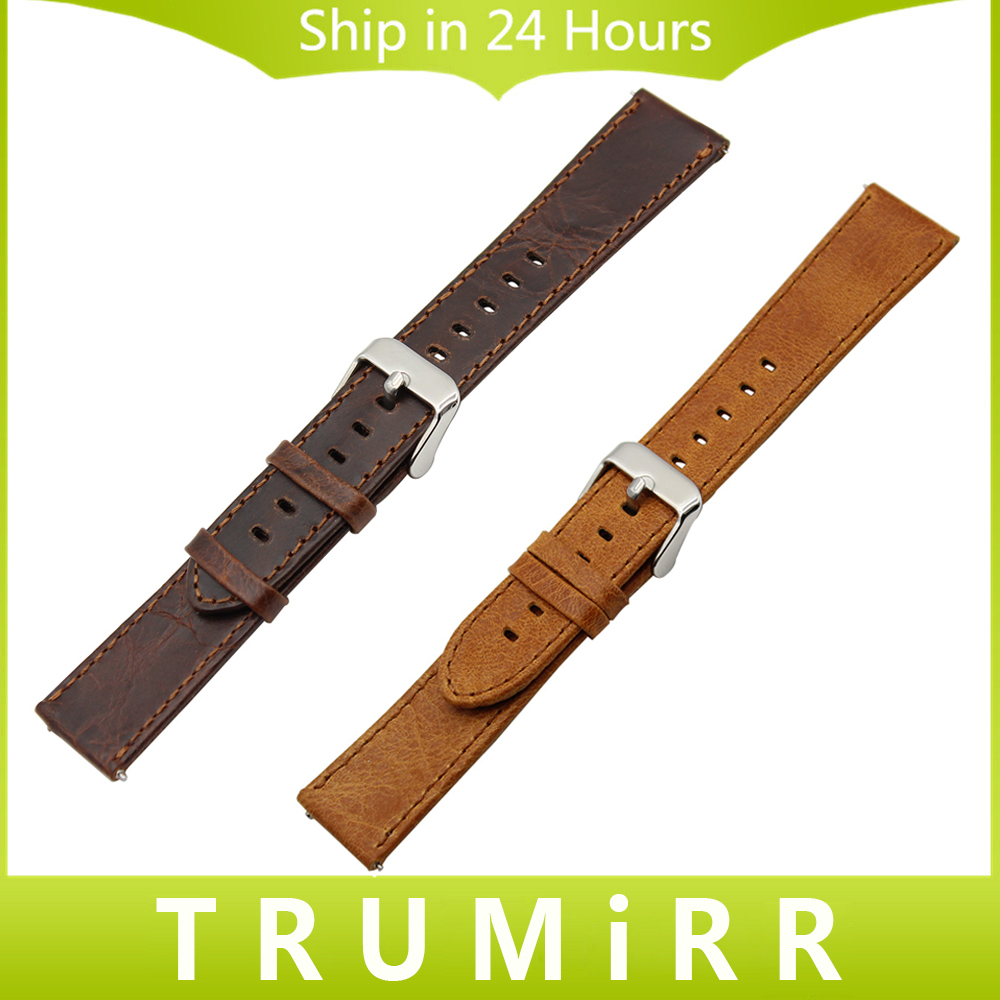 20mm 22mm 23mm Brown Genuine Leather Watchband Quick Release Strap Universal Watch Band Stainless Steel Buckle