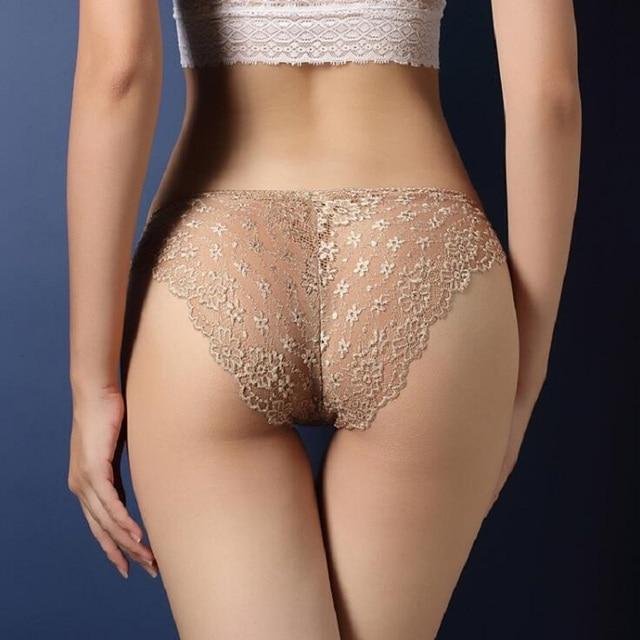 2018 Luxury ladies underwear sexy lace transparent temptation panties low waist lifts buttock hollow briefs lingerie