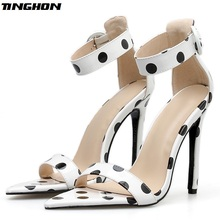 Купить с кэшбэком TINGHON Fashion Women Summer Thin High Heels Gladiator Polka Dot Buckle Solid Shallow Cover Heel Wedding PU Sandals 35-40