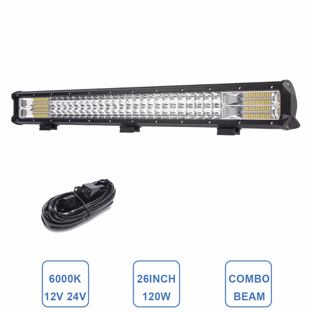 26 INCH 3-Row LED Light Bar Indicator Driving Work Light Offroad Boat Car Tractor Truck 4x4 SUV ATV Trailer Wagon 12V 24V Lamp meike 12mm f 2 8 wide angle fixed lens with removeable hood for panasonic olympus mirrorless camera mft m4 3 mount with aps c
