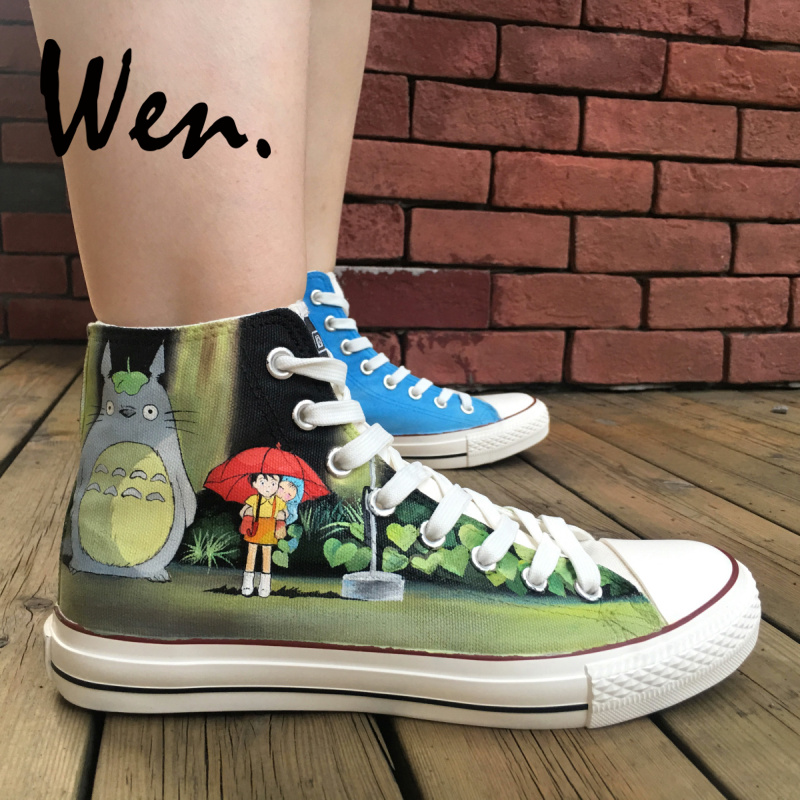 Wen Design Custom Hand Painted Shoes Anime My Neighbor Totoro Bus Tram High  Top Women Men s Canvas Sneakers Lace up Plimsolls 811caeb22c7d