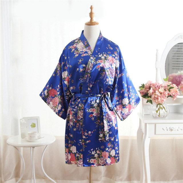 90985ffd600c Plus Ukuran Wanita Musim Panas Mini Kimono Pendek Jubah Mandi Gaun Hot Pink  Cina Wanita Rayon