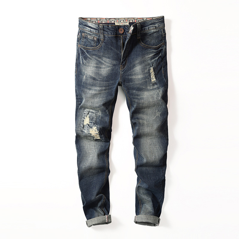 Mens Jeans 2017 Newly Desinger Straight Slim Fit Ripped Jeans For Men Holes Denim Trousers Male Fashion Washed Casual Pants