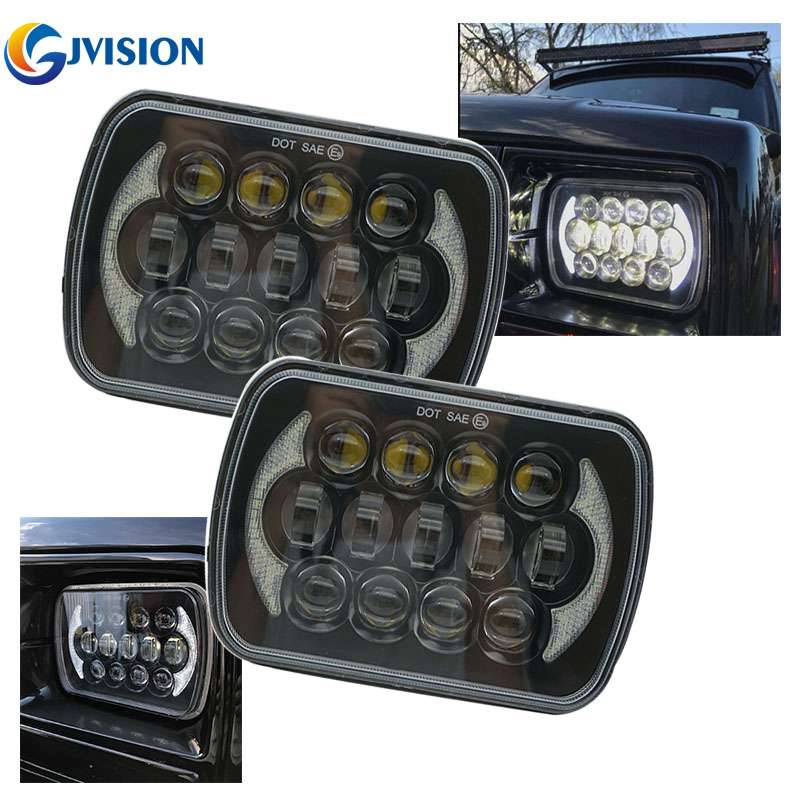 85W Pair Rectangular 5'' x 7'' inch Projector led headlights with DRL for Jeep Wrangler YJ Cherokee XJ Comanche MJ pair 5   x 7   inch 85w 5d rectangular