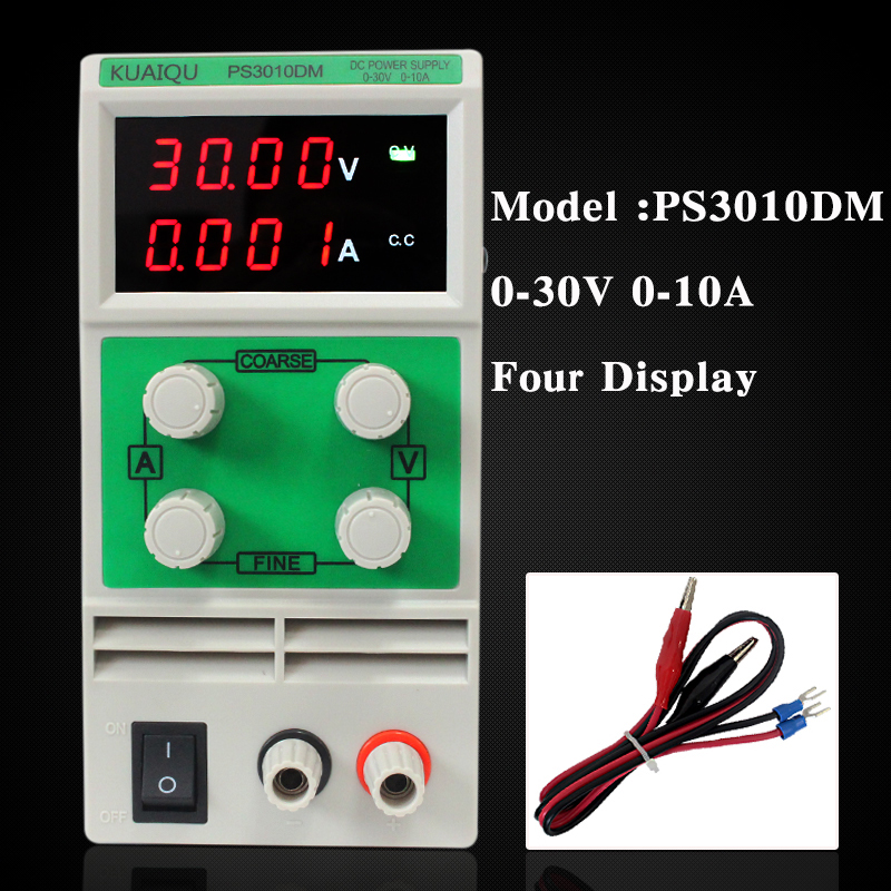 PS3010DM Voltage Regulators 0-30V 0-10A Switch laboratory power supply Four Digital Display adjustable Mini DC Power Supply four digit display rps3003c 2 adjustable dc power supply 30v 3a linear power supply repair