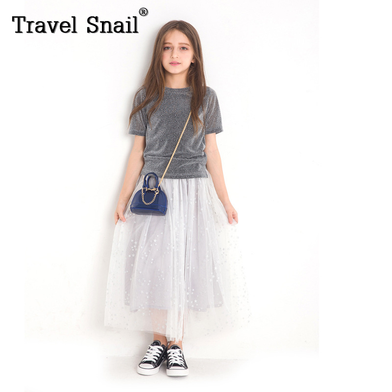 Travel snail toddler girls clothes children t shirts kids dress for girls t shirts+dress solid cotton 5-9 years 2018 Summer New new 2015 summer children t shirts baby clothes child 100