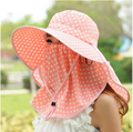 2015 summer fashion big dot round cap womens lady mens sunscreen anti UV sun hat helmet outdoor climbing riding full cover caps