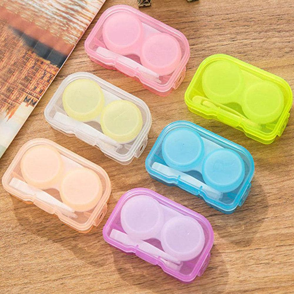 1Pc Random Color  Contact Lens Case Transparent Pocket Plastic Travel Kit All In One Contact Lenses Easy Take Holder Container