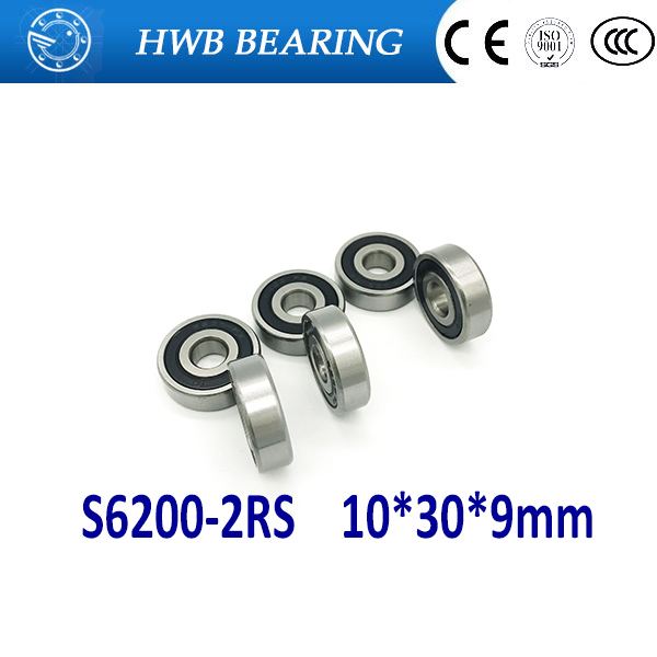 Free Shipping 2PCS S6200-2RS  CB ABEC5 10X30X9mm Stainless Steel Hybrid Bearings/Bike Bearings S6200 RS For bicycle
