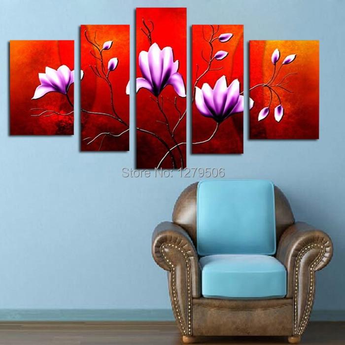Handmade Da Pintura A Óleo Sobre Tela Wall Art Home Decor Para a Sala de estar Como Presente Original 5 Peças/set Imagem Flor Roxa decoração