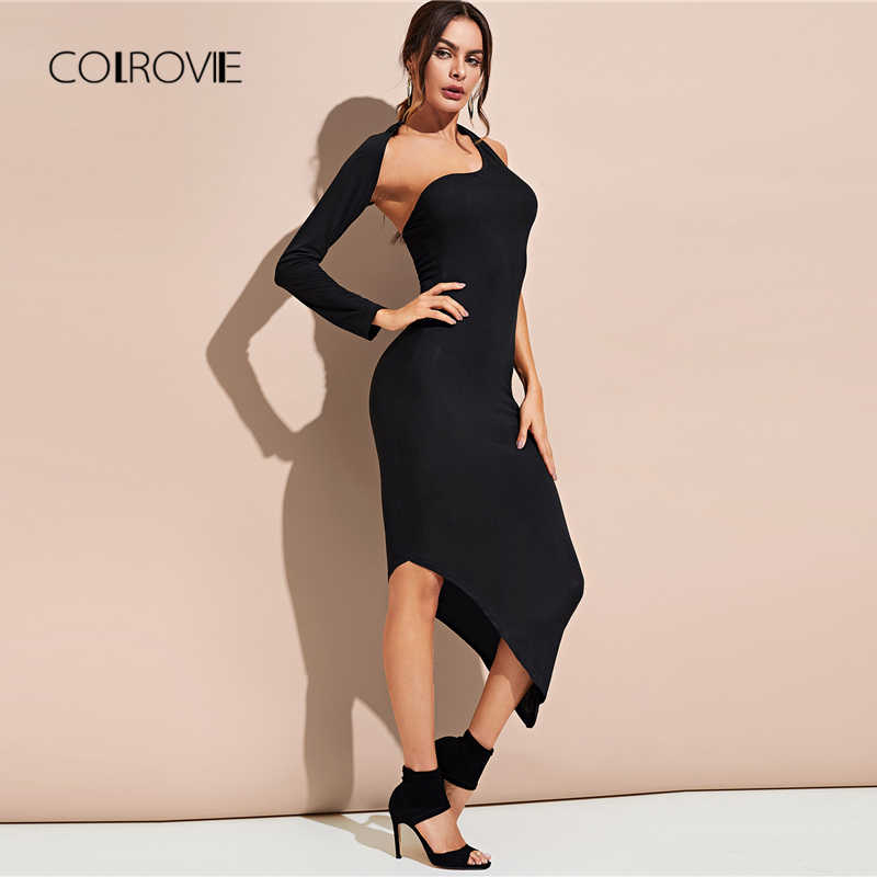 3f5e2063d422 COLROVIE Black Sexy Asymmetric Shoulder Hem Fitted Party Dress Women 2018  Autumn Solid Stretchy Bodycon Dress