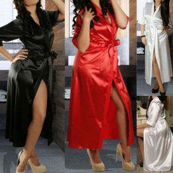 Hirigin Fashion Casual Women Luxury Nightdress Satin Kimono Dressing Gown Robe