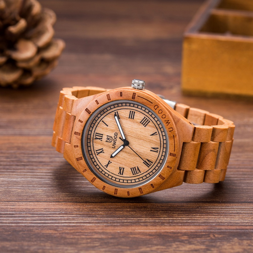 2018 Fashion Mens Watches Brand UWOOD Men's Wooden Watches Luxury Wrist Watch Men Wood Wristwatch Watch as Gifts for Friend G013 uwood simplify men purple heart sandal wood watch fashion purple color wooden watches for mens luxury dress wristwatch gift
