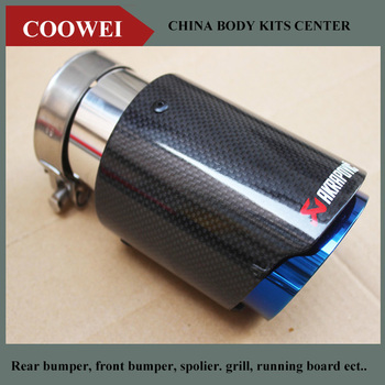 114MM out glossy blue end CAR MODIFIDE MUFFLER pipe Akrapovic Carbon Fiber+Stainless Steel Exhaust Tip bmw f30 akrapovic auspuffblende