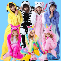 Animal Kigurumi Pijama Cosplay Costume Adult Women Unicorn Onesie Flannel Soft Men Pajama Sleepwear Onepiece Sleeping