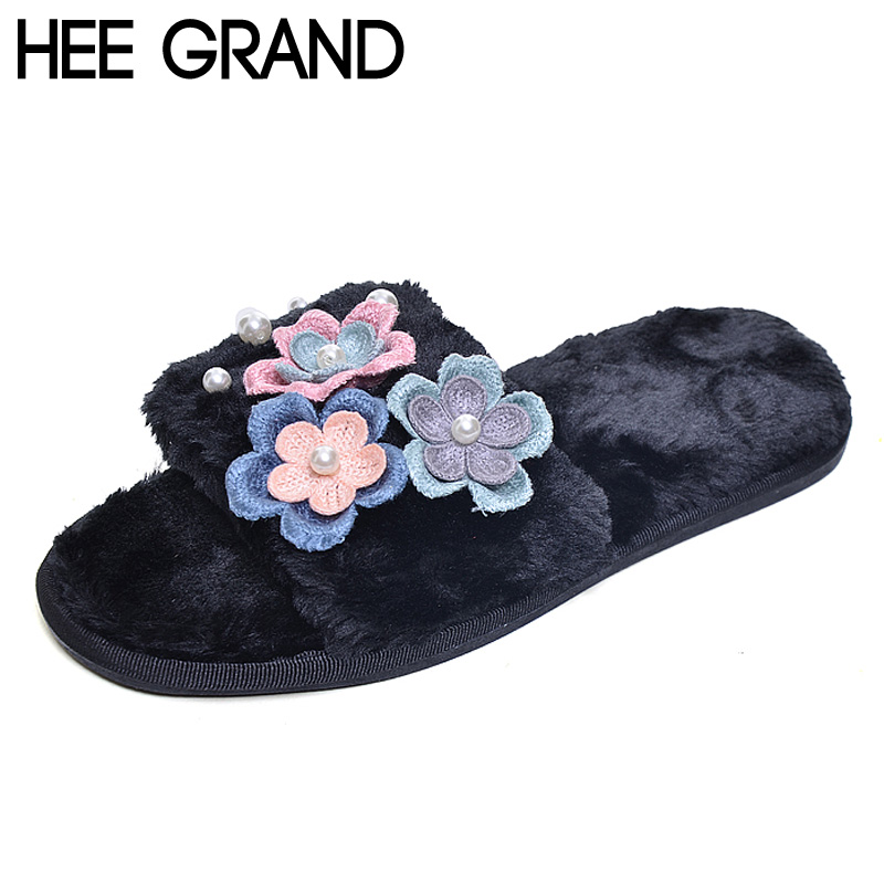 HEE GRAND Women Slippers Cute Floral Soft Fur Winter Spring Indoor Slides Plush Flat Heel Girls Womens Shoes XWT611