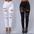 2016 fashion casual boyfriend high waist women elastic push up denim ripped pencil jeans pantalones vaqueros mujer pants trouser