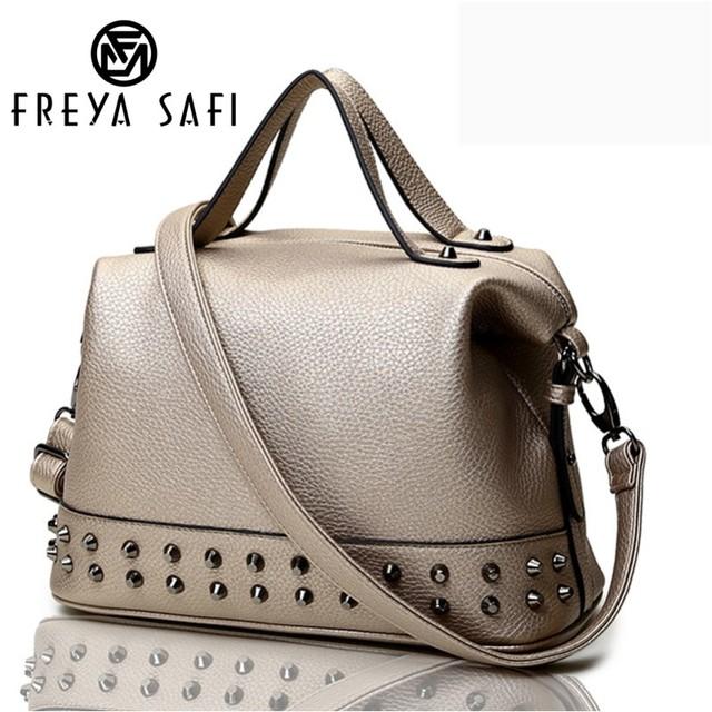 Freya Safi rock style medium classic women handbags punk women messenger bag with rivets hot sale ladies bags motorcycle handbag
