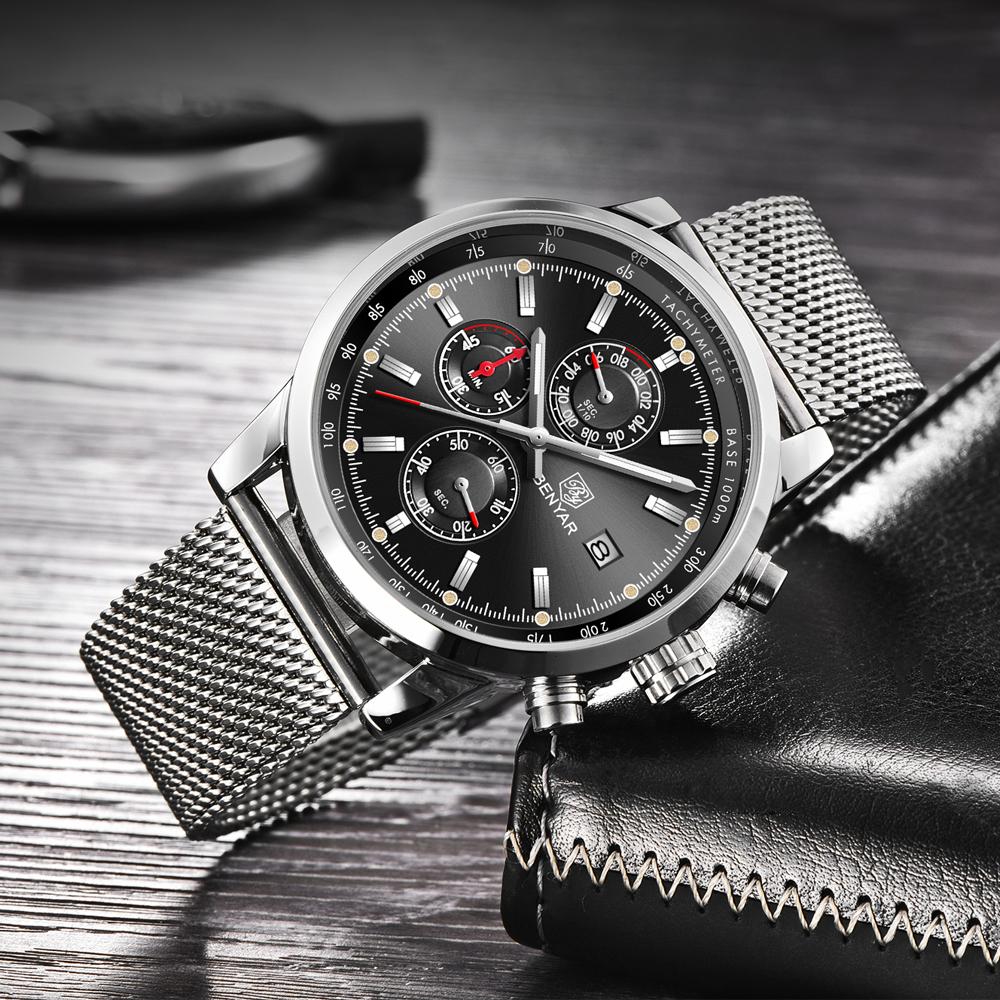 Image 3 - Benyar Men Watch Top Brand Luxury Male Mesh Quartz Chronograph Military Waterproof Wrist Watch Men Sport Clock relojes hombre-in Quartz Watches from Watches