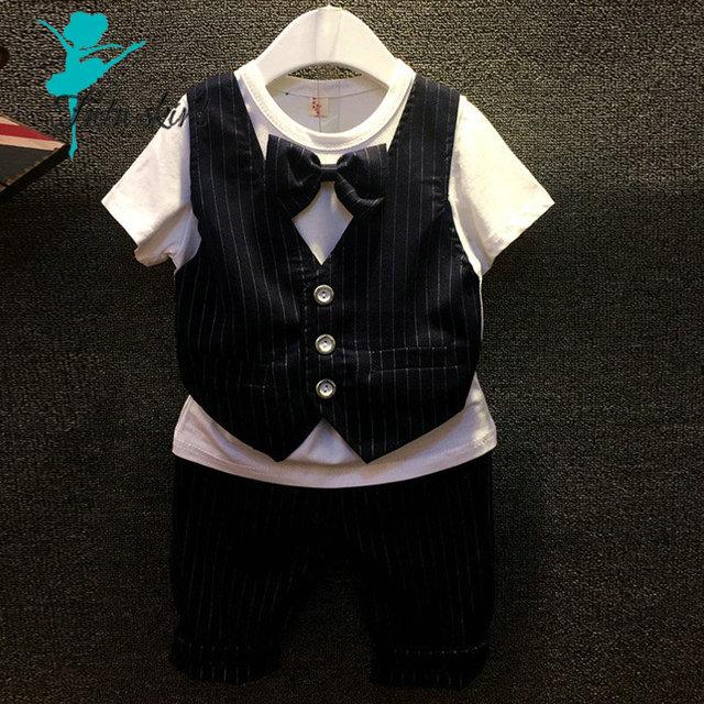 Summer Brand Baby Suit Gentleman Boys Clothing European Style Baby Boy Formal Dress Wedding Suits Birthday Party Costume