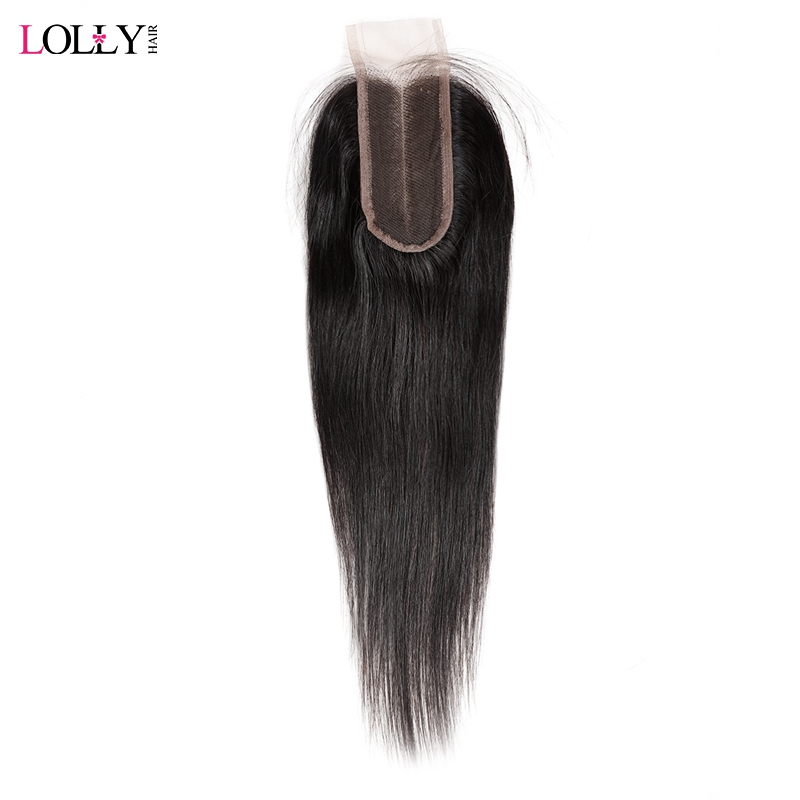 Lolly Hair Brazilian Straight Lace Closure With Baby Hair Swiss Lace Middle Part 2X4 Remy Human Hair Closure Can Be Dyed