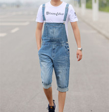 Plus Size Mens Denim Bib Overalls For Men Summer Knee Length Jeans Shorts Big Size XS-3XL 4XL 5XL