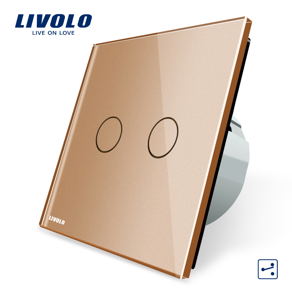 Manufacturer, Livolo EU Standard Touch Switch, 2 Gang 2 Way Control, Wall Light Switch, VL-C702S-13 In Golden Color 2017 free shipping smart wall switch crystal glass panel switch us 2 gang remote control touch switch wall light switch for led