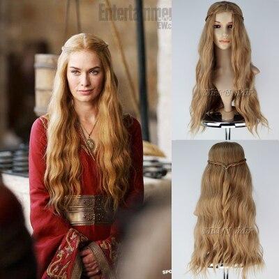 Game of Thrones Cosplay Wig Queen Cersei Lannister Wigs Wavy Hair Golden Color Halloween Cosplay Prop