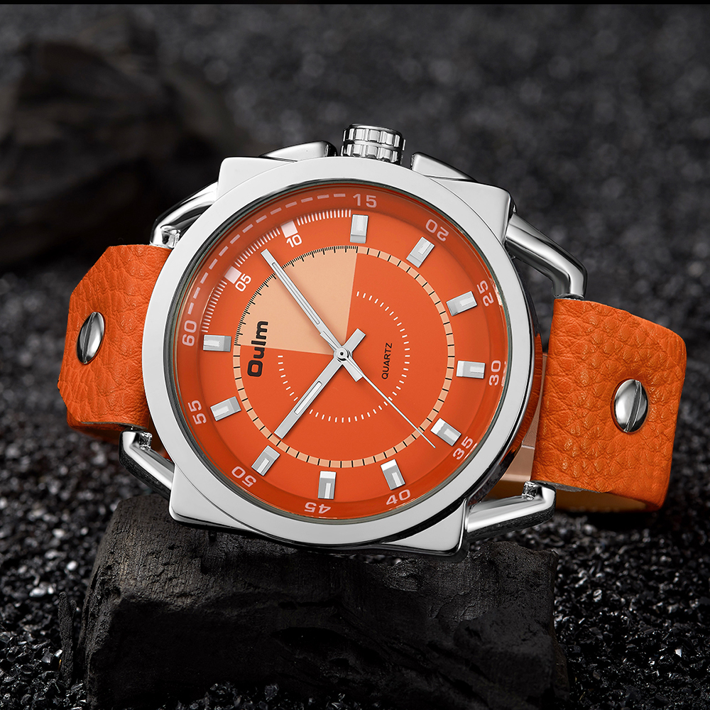 oulm Army Military Sport Watch Men Quartz Clock Orange leather Strap Dial Date Display Fashion Creative Watches