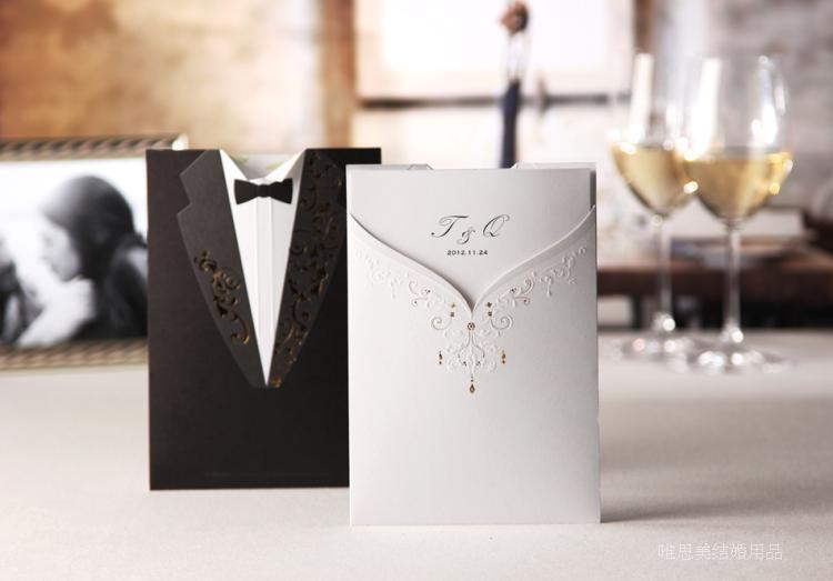 100psc Laser Cut Wedding Invitations Creative Elegant Vintage Groom And Bride Black White Formal Wedding Invitation Card Cw2011
