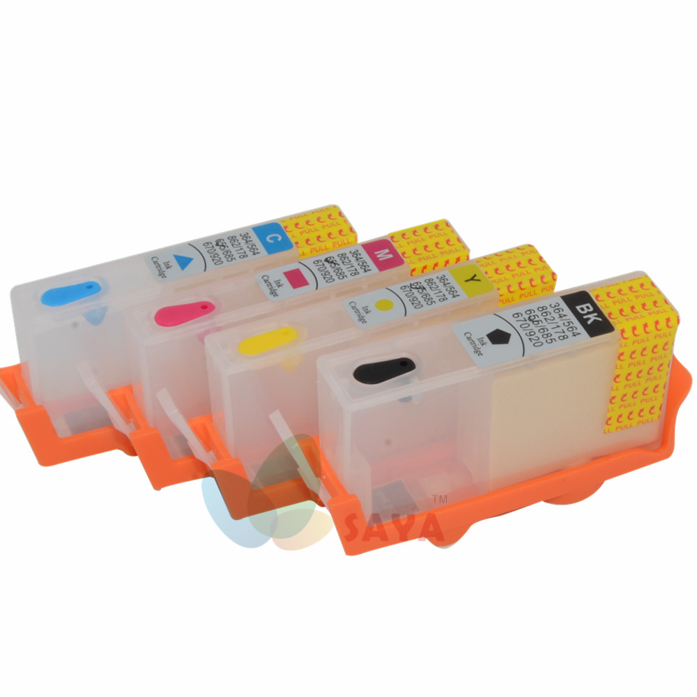 LINFENG Replacement for HP 655 for hp655 Refillable Ink Cartridges with chips on Deskjet 3525 4615 4625 5525 6525 4 color for hp685 empty refillable cartridge with chip show ink level for hp deskjet ink advantage 3525 4615 4625 5525 6525
