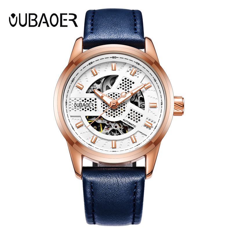 Fashoin Leather Men Mechanical Wristwatch Top Brand Skeleton Business Automatic Mechanical Watch Men Military Waterproof Relojes magiray magiray clc eye