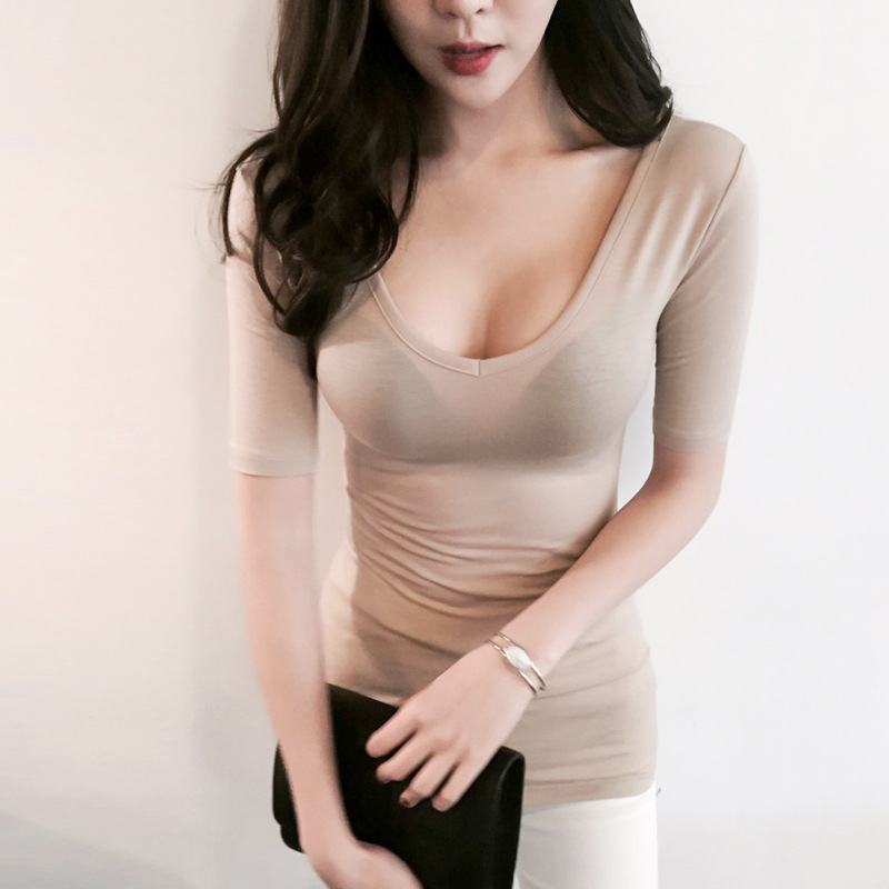 2017 New Women Casual Basic Summer Autumn T-shirt blusas Tight Sexy Solid Cotton O-neck Top Shirt short sleeves Large Size