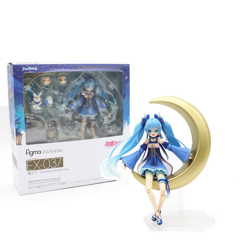 Anime Hatsune Miku figma EX-037 Twinkie Snow Ver. Nendoroid PVC Action Figure Model Collection Toy 14cm Give The Girl a Gift nendoroid anime sword art online ii sao asada shino q version pvc action figure collection model toy christmas gifts 10cm
