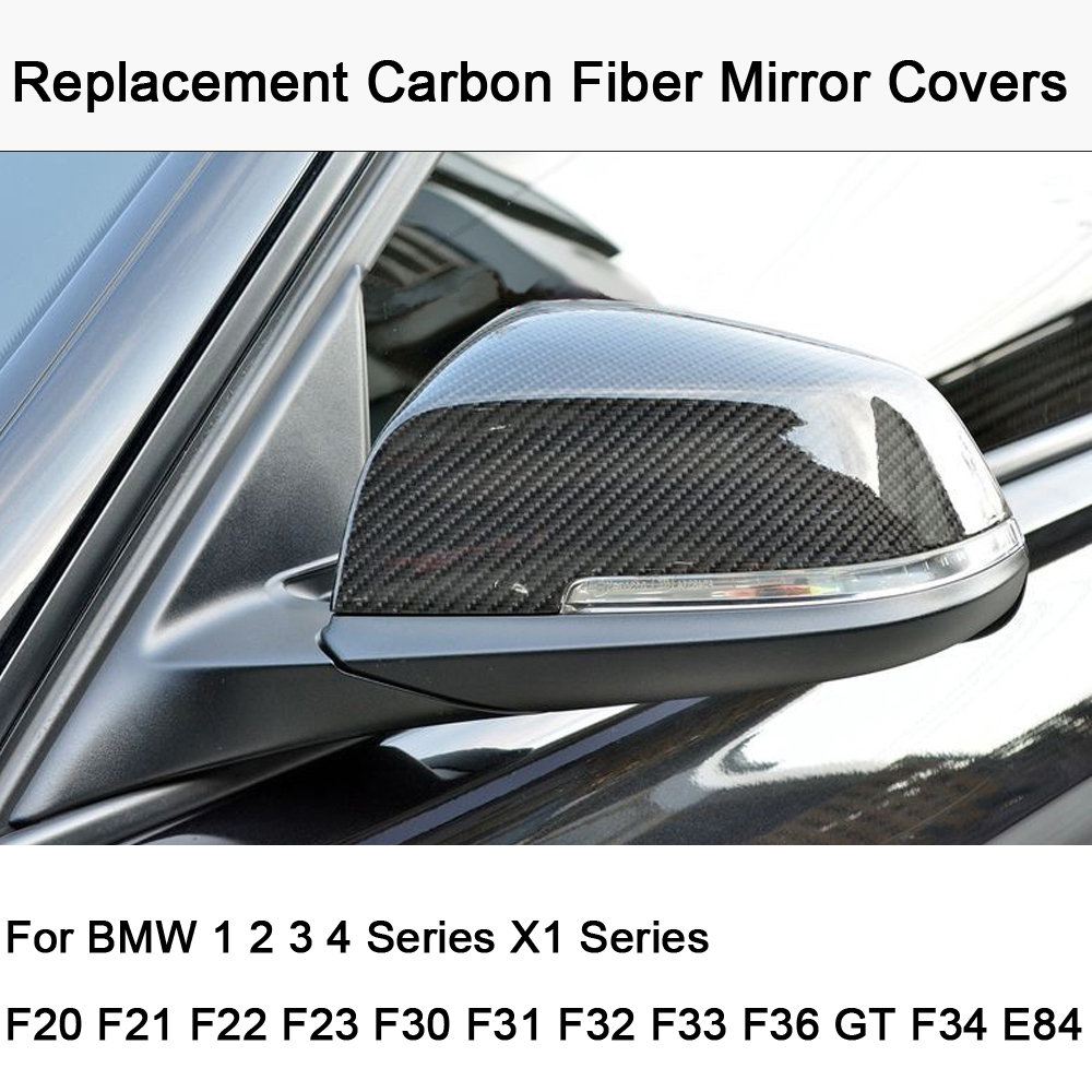 Car styling Replacement Carbon Fiber Mirror Covers Caps Shell for BMW 1 2 3 4 series F20 F21 F22 F23 F30 F31 F34 F32 F33 F36 E84 цена
