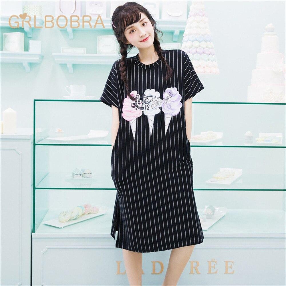 Womens Night Dress Fresh Simple Striped Cake Pattern Slim Sleepwear Onesies