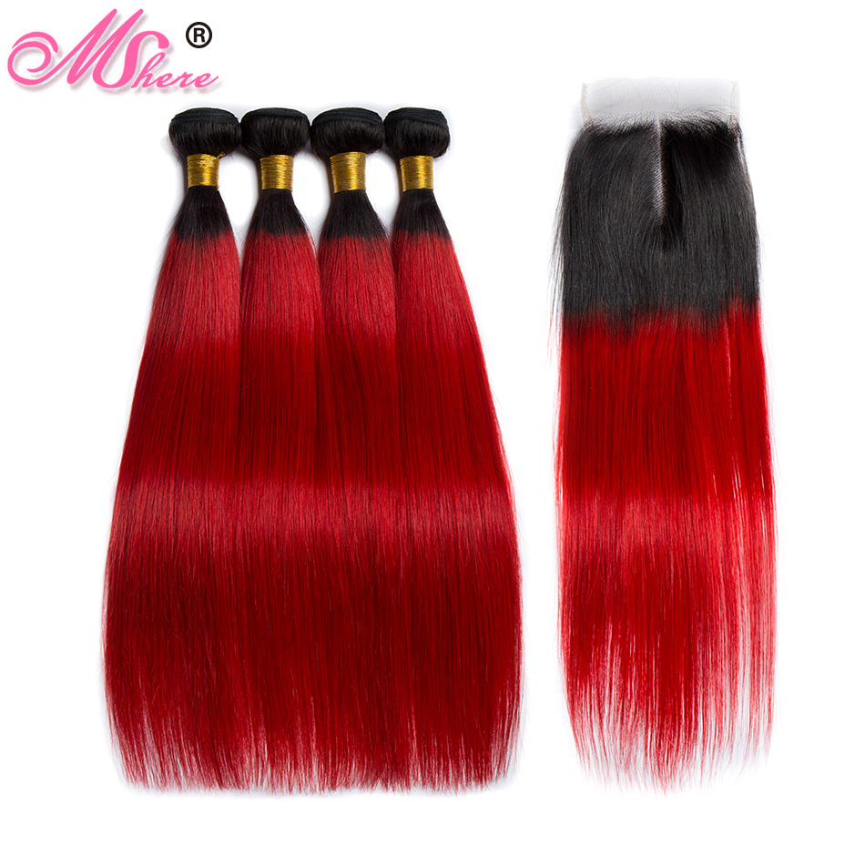 Mshere Straight Ombre Hair 3 Bundles With Closure 1B red Peruvian Human Hair Weave Bundles With